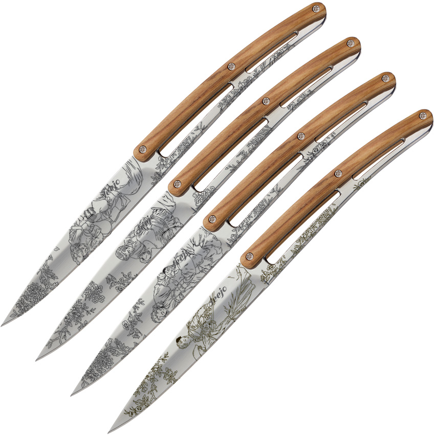 DEE4AB011 Deejo Steak Knives Mirror Toile De Jouy