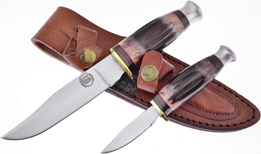 FCW988RTB Frost Cutlery Chipaway 2 Piece Hunting Knife Set Red Bone