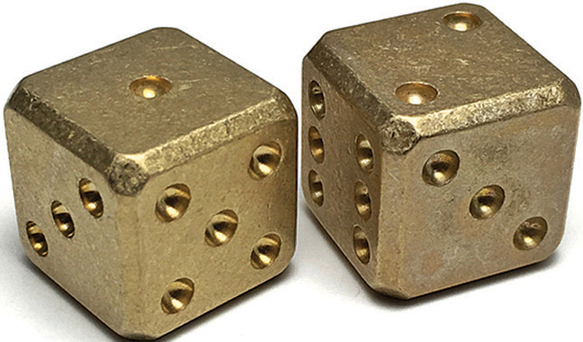 FLY008 Flytanium Brass SW Cuboid Dice Set