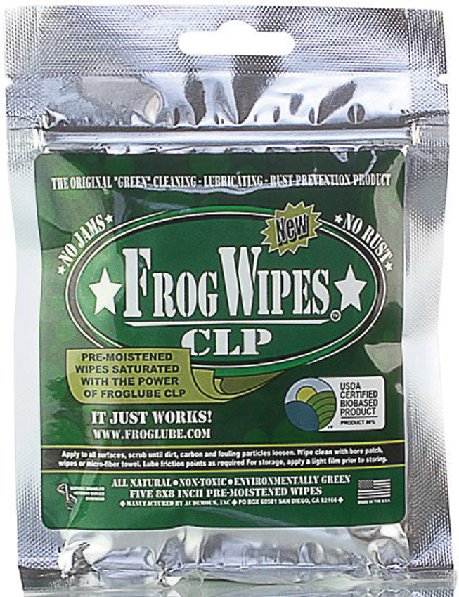 FROG14936 FrogLube Treated Wipes 5 Pack