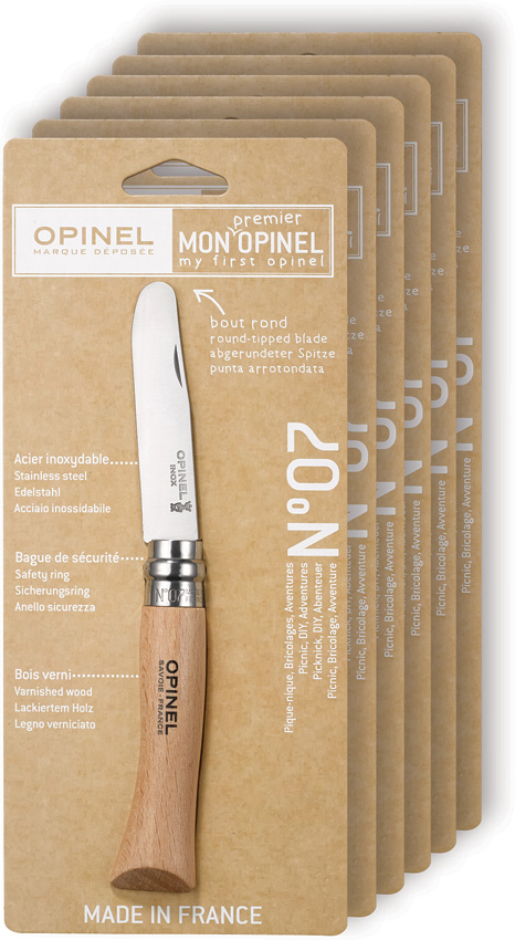 OP01696 Opinel No 7 Knife Round End Safety 6 Piece
