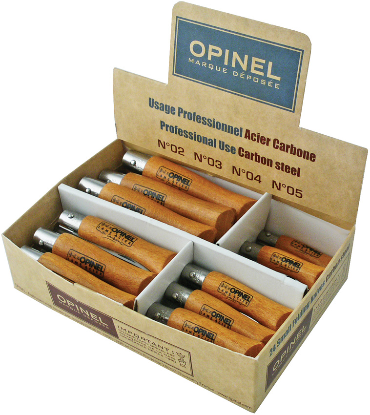 OP82345 Opinel 24 Piece Folding Pocket Knife Assortment Carbon