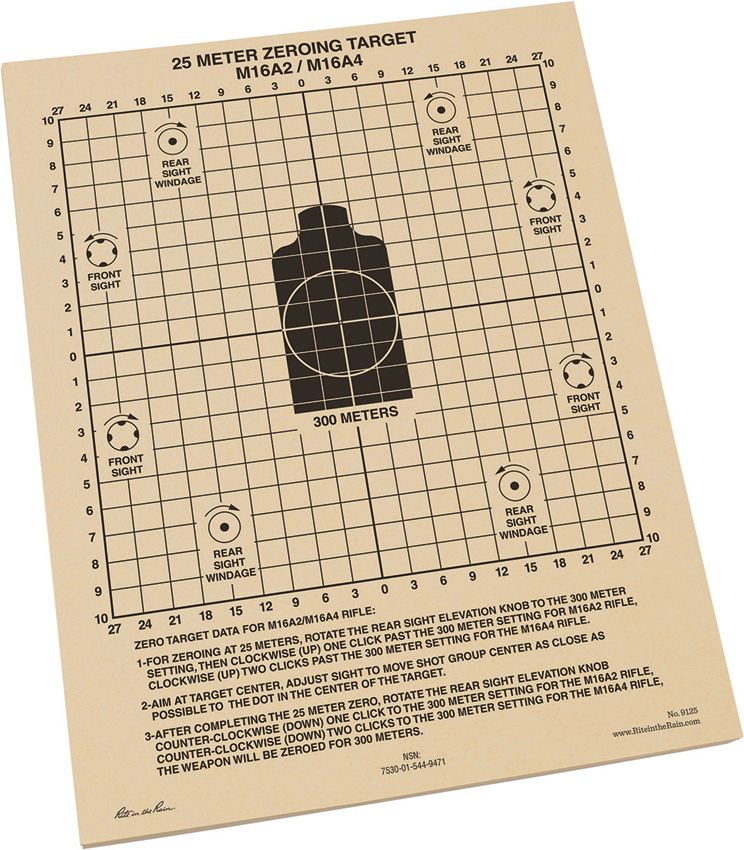 RITR9125 Rite in the Rain 25m Zeroing Target Sheets 100