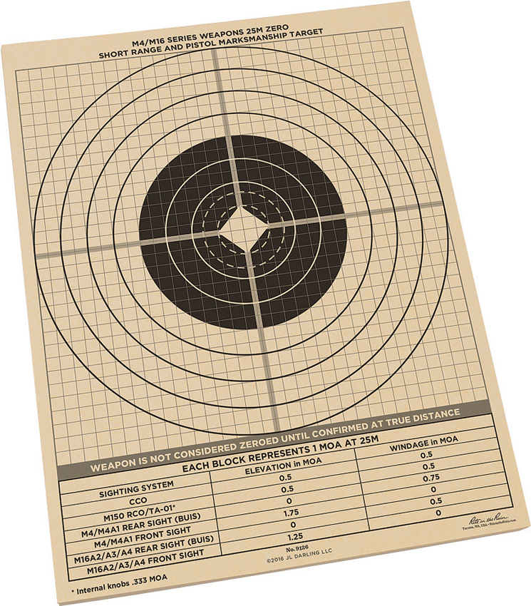 RITR9126 Rite in the Rain 25m Zeroing Target Sheets 100