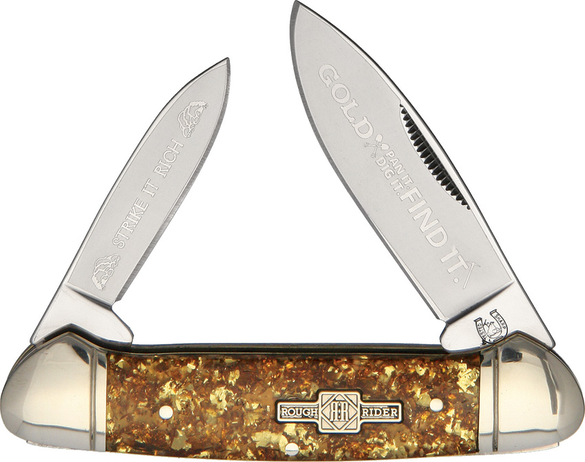 RR1521 Rough Rider Gold Flake Canoe Pocket Knife