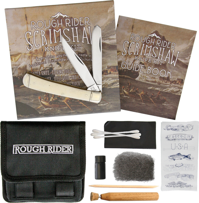 RR1579 Rough Rider Scrimshaw Pocket Knife Set