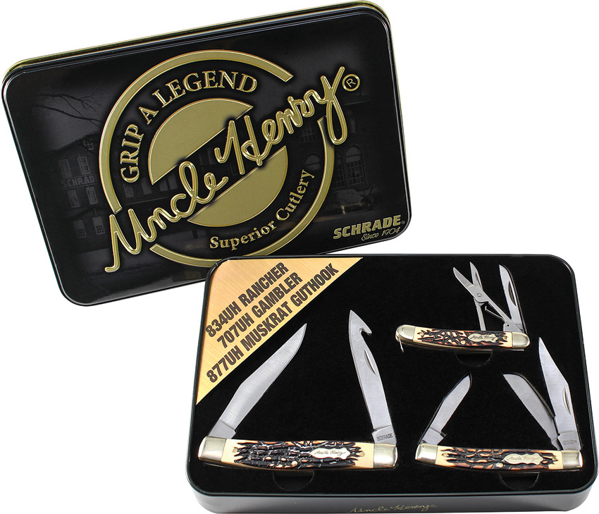SCHPROM1514CP Schrade Uncle Henry 2015 Pocket Knife Gift Tin Set
