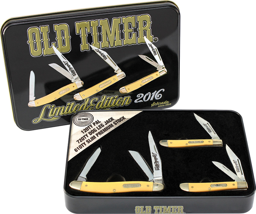 SCHPROM1620CPY Schrade Old Timer Pocket Knife Tin Set Yellow