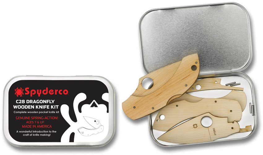 SCWDKIT1 Spyderco Dragonfly C28 Wooden Knife Making Kit