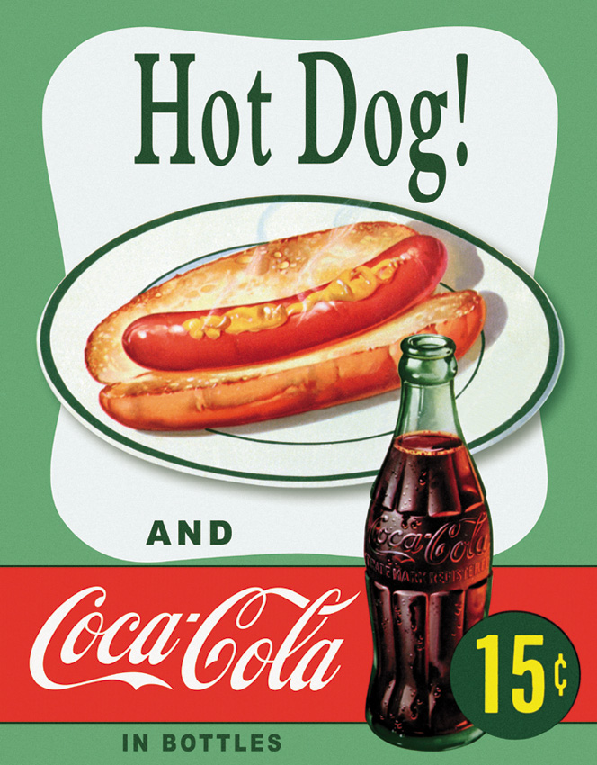 TSN1048 Tin Sign - Hot Dog And Coke
