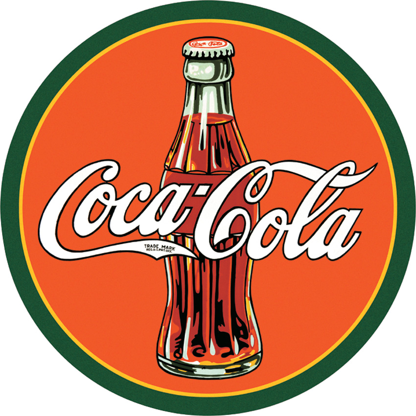 TSN1069 Tin Sign - Coke Round 30's Bottle & Logo