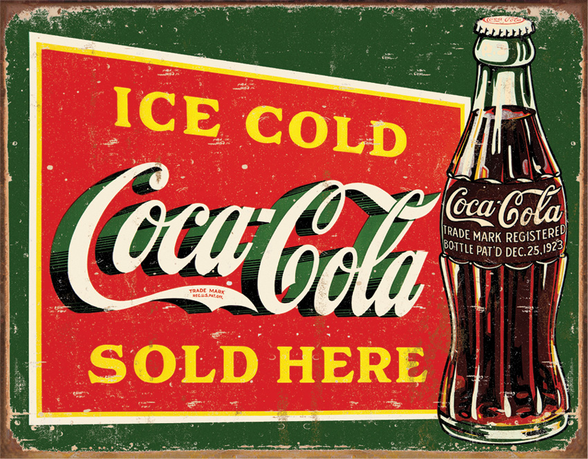 TSN1393 Tin Sign - Coke Ice Cold Green