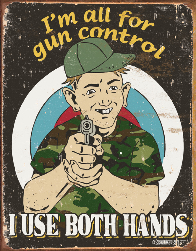 TSN1583 Tin Sign - Gun Control