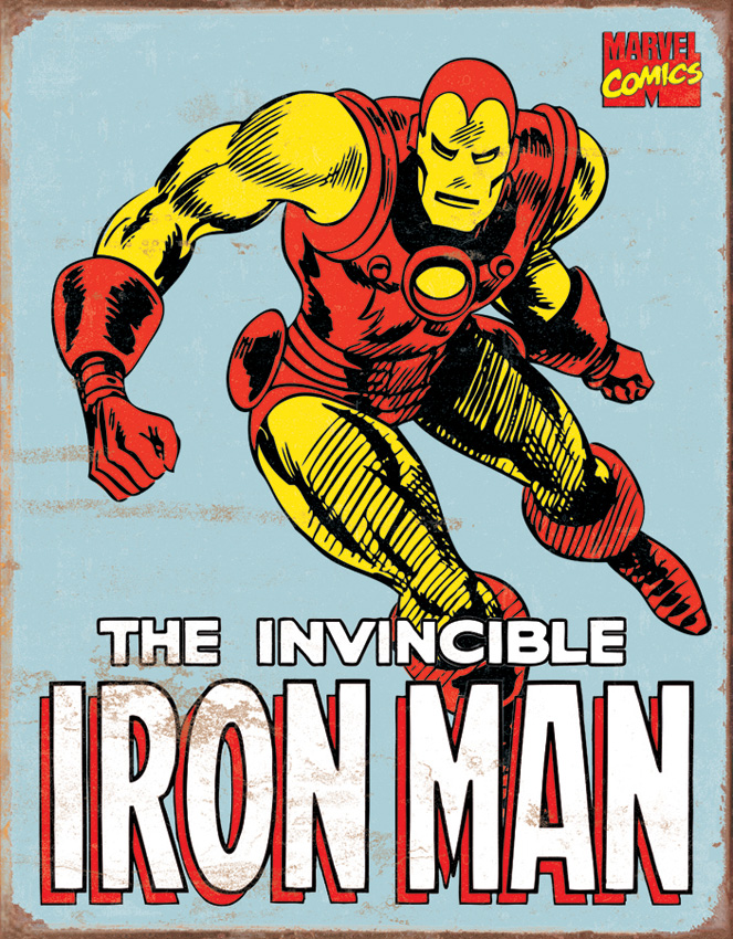 TSN1650 Tin Sign - Iron Man Retro