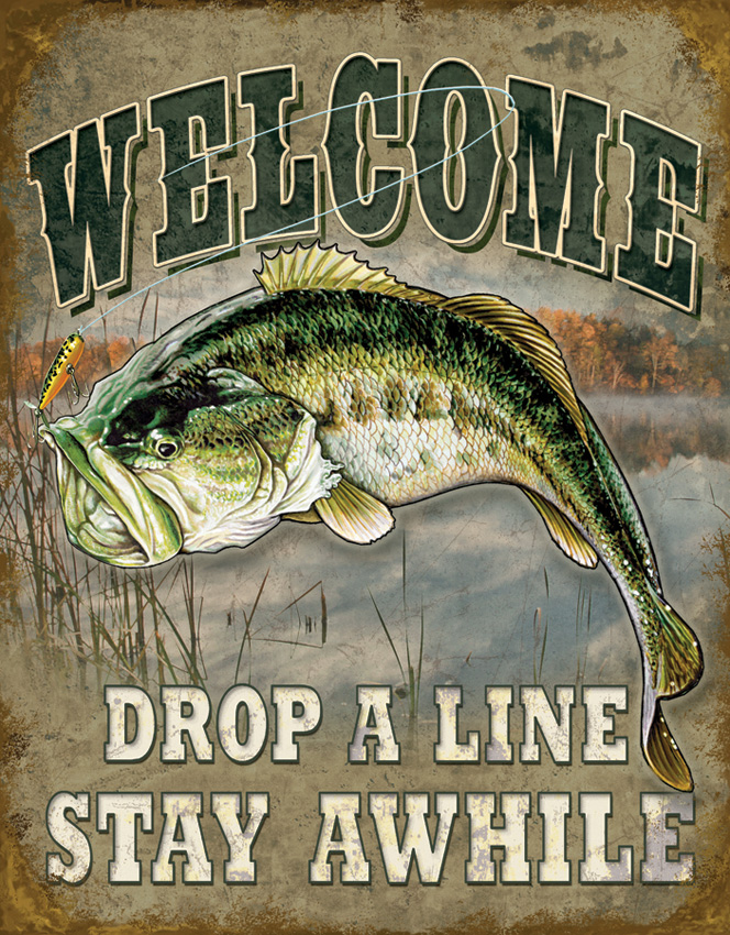 TSN1669 Tin Sign - Welcome Bass Fishing