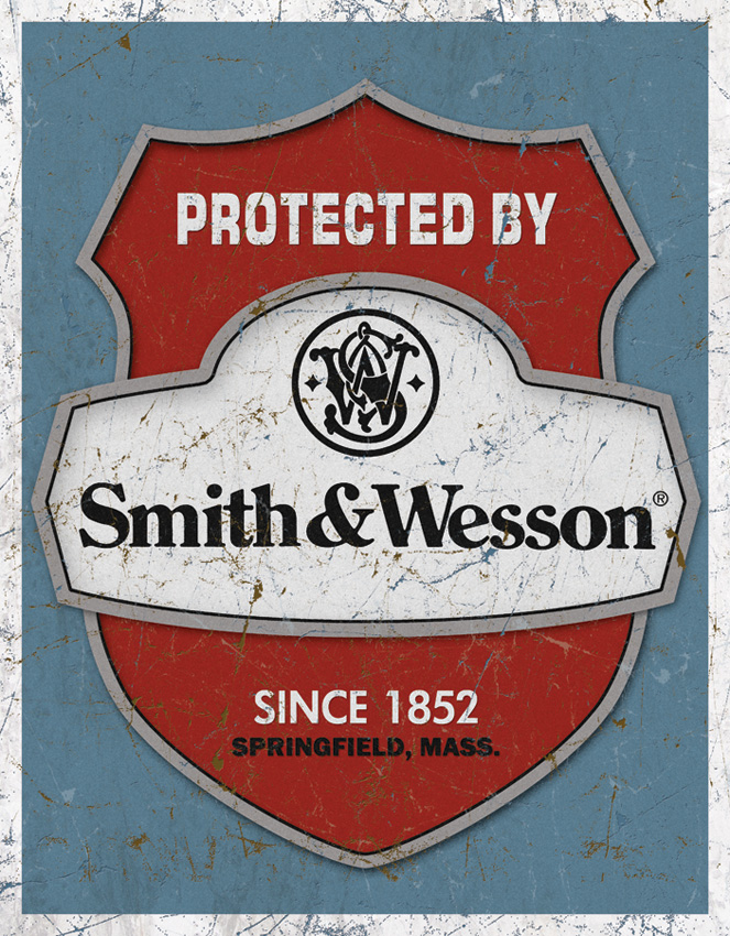 TSN1682 Tin Sign - Protected By S&W