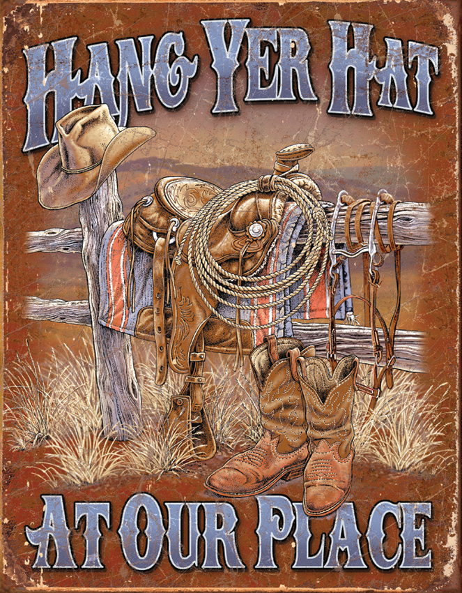 TSN1703 Tin Sign - Hang Yer Hat