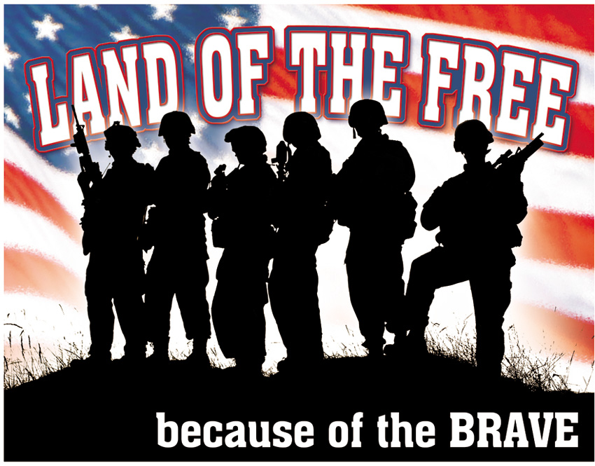 TSN1818 Tin Sign - Land of the Free Because of the BRAVE