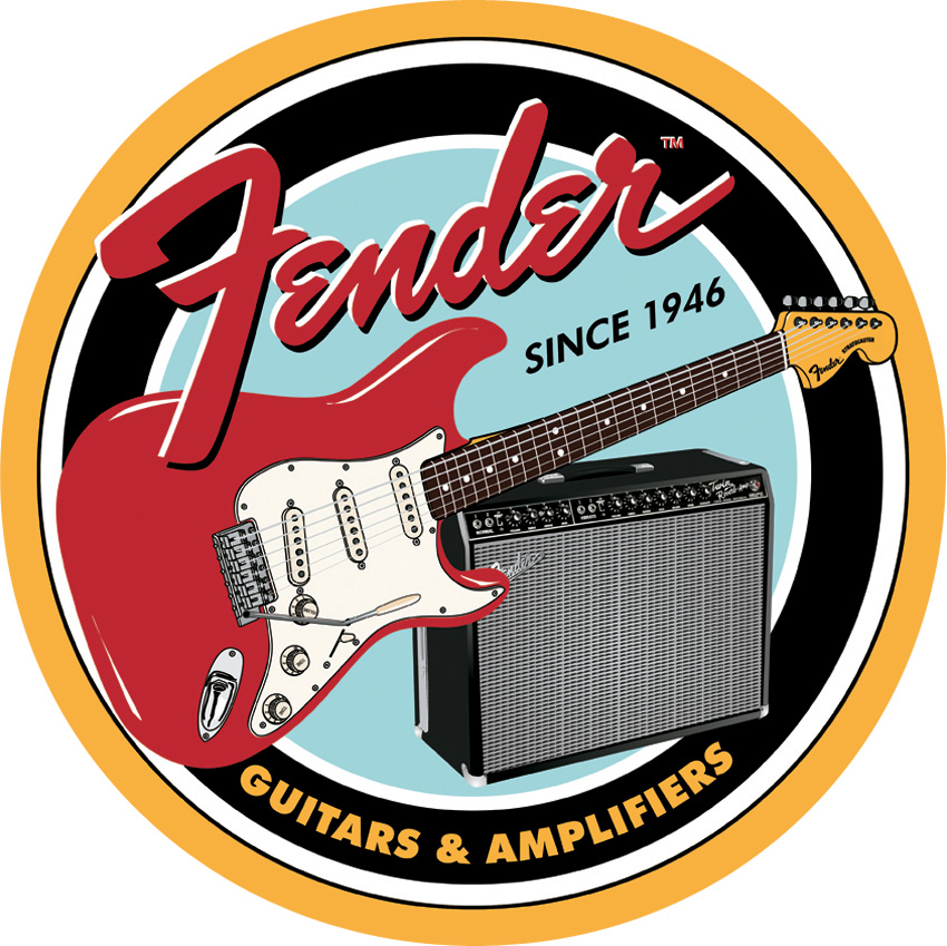 TSN1858 Tin Sign - Fender Round