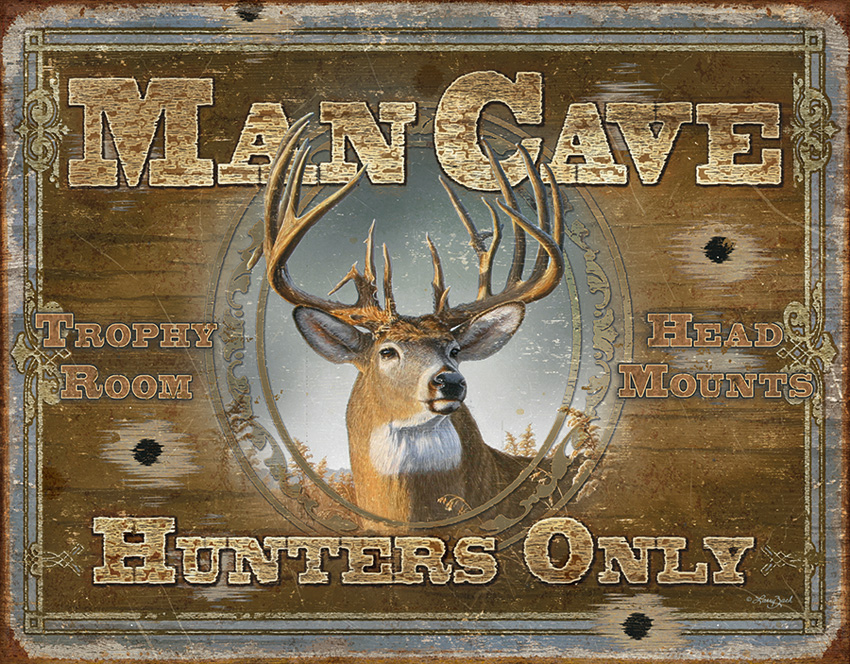 TSN1935 Tin Sign - Man Cave Hunters Only