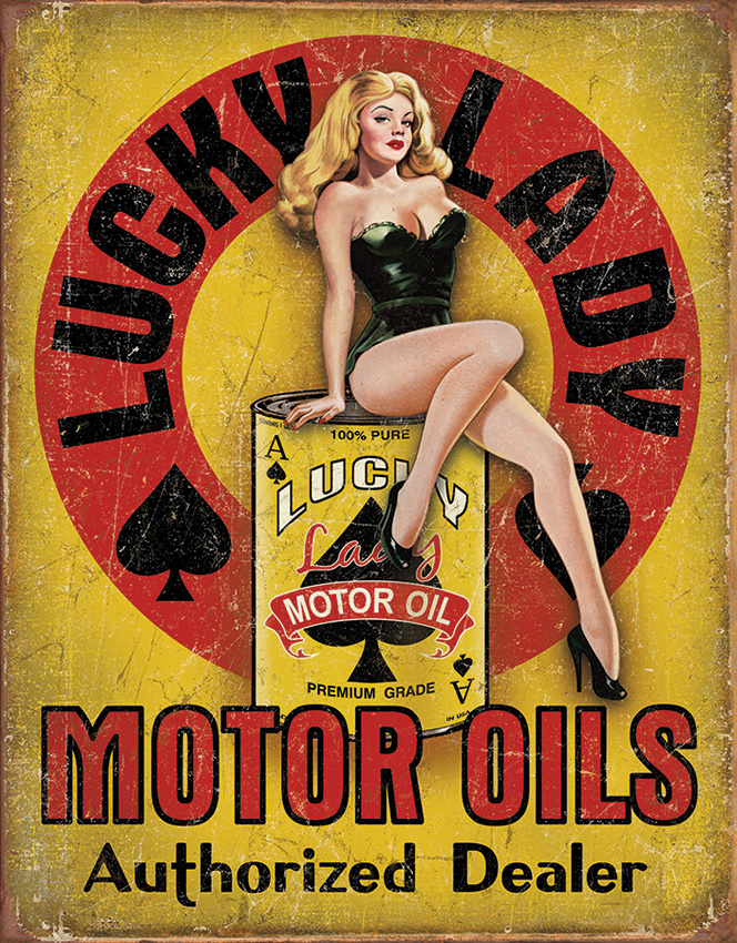 TSN1998 Tin Sign - Lucky Lady Motor Oils
