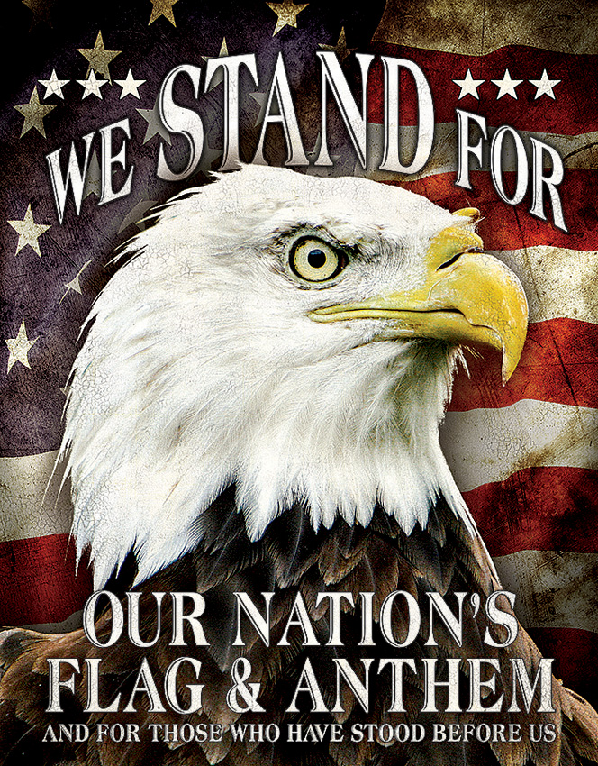 TSN2175 Tin Sign - We Stand For Our Nation's Flag and Anthem