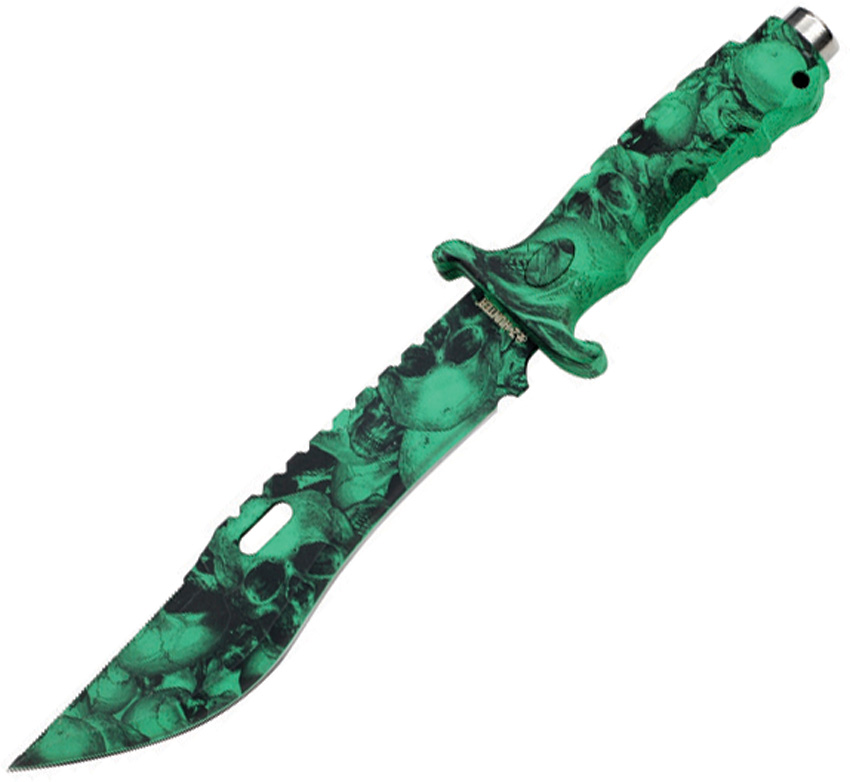 ZB036GN Z-Hunter Fixed Blade Knife Green Skull Camo