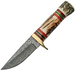 DM1075 Damascus Hunter Knife Stag Handle