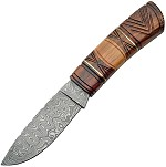 DM1083 Damascus Fixed Blade Knife Carved Wood Handle