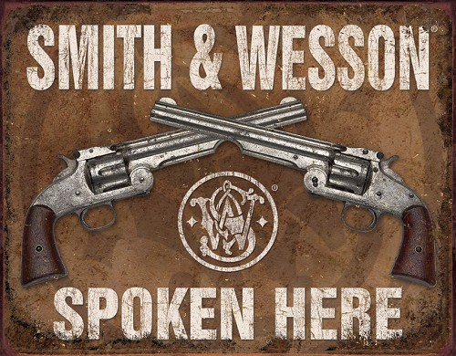 TSN1849 Tin Sign - Smith & Wesson Spoken Here