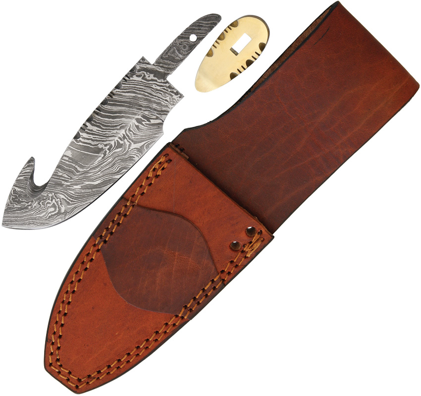 BLSODMBL2 Knifemaking Damascus Guthook Blade With Sheath