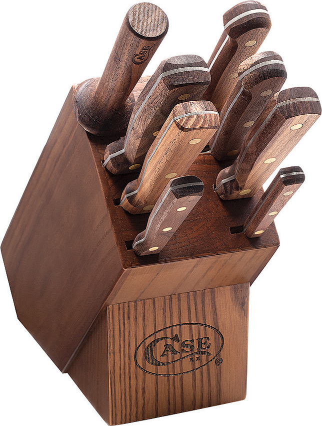 CA10249 Case Cutlery Nine Piece Kitchen Knife Block Set Walnut