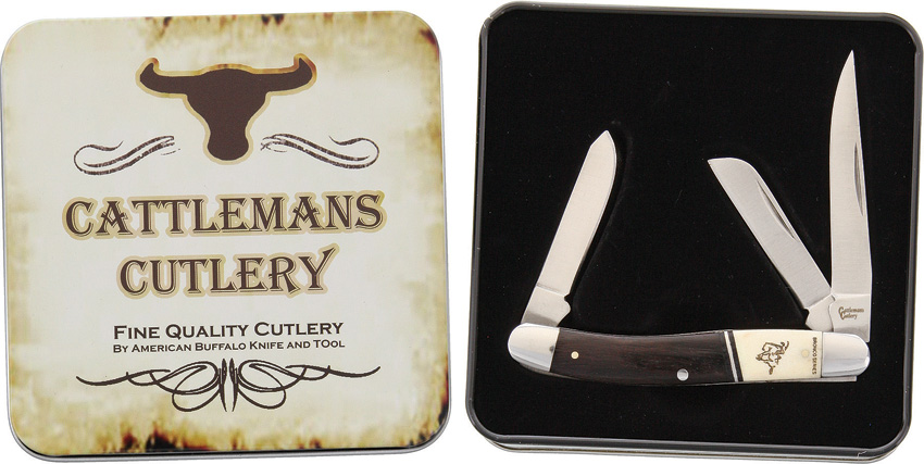 CC0001BST Cattleman's Cutlery Bronco Series Stockman Pocket Knife