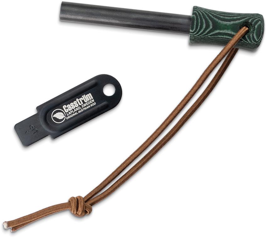 CI12207 Casstrom Firesteel Fire Starter Green Micarta Handle