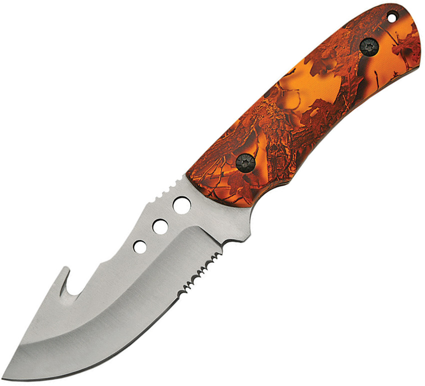 CN211385 Guthook Hunting Knife with Orange Camo Handle