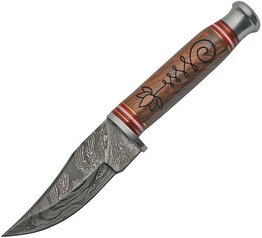 DM805 Damascus Hunter Knife Wood Handle