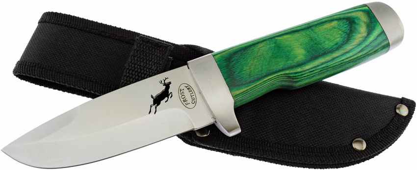 F18033GPW Frost Cutlery Fixed Blade Knife Green Pakkawood
