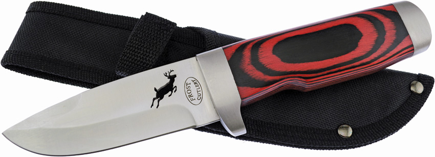 F18033RPW Frost Cutlery Fixed Blade Knife Red Pakkawood