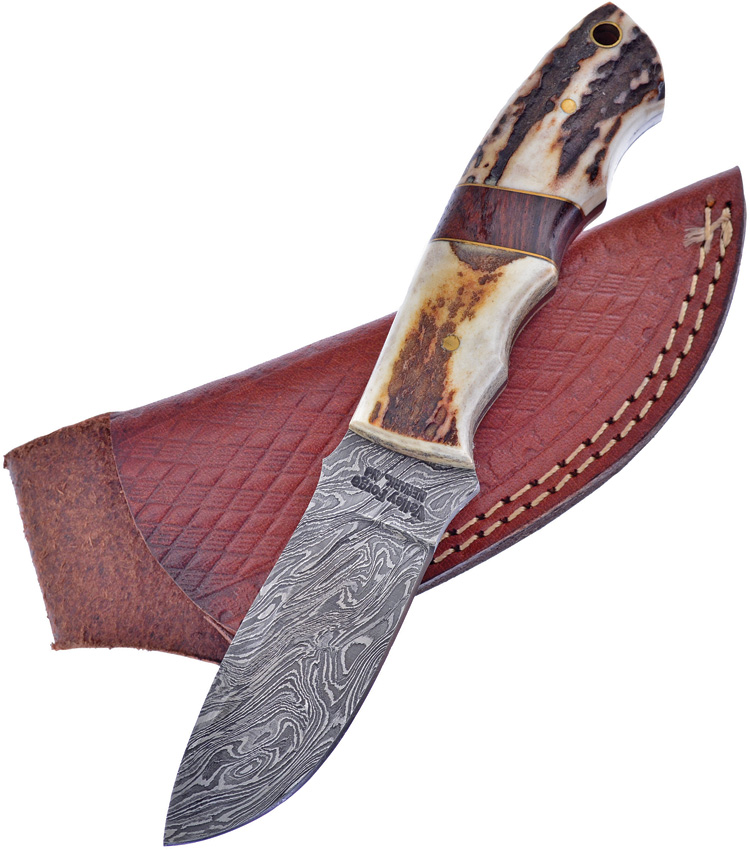 FVFD40ST Frost Cutlery Valley Forge Damascus Fixed Blade Knife Stag Bone Resin