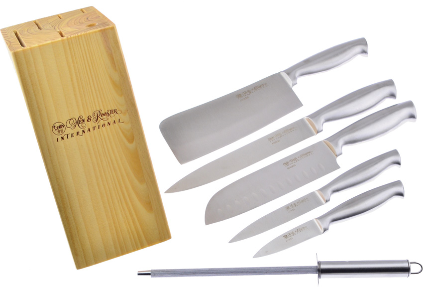 HRI052 Hen & Rooster Kitchen Knife Set 6 Pieces
