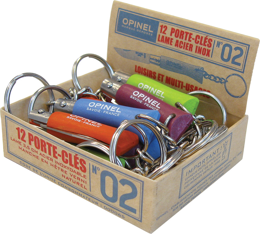 OP01429 Opinel No 2 Pocket Knife Assorted Colors 12 Pc