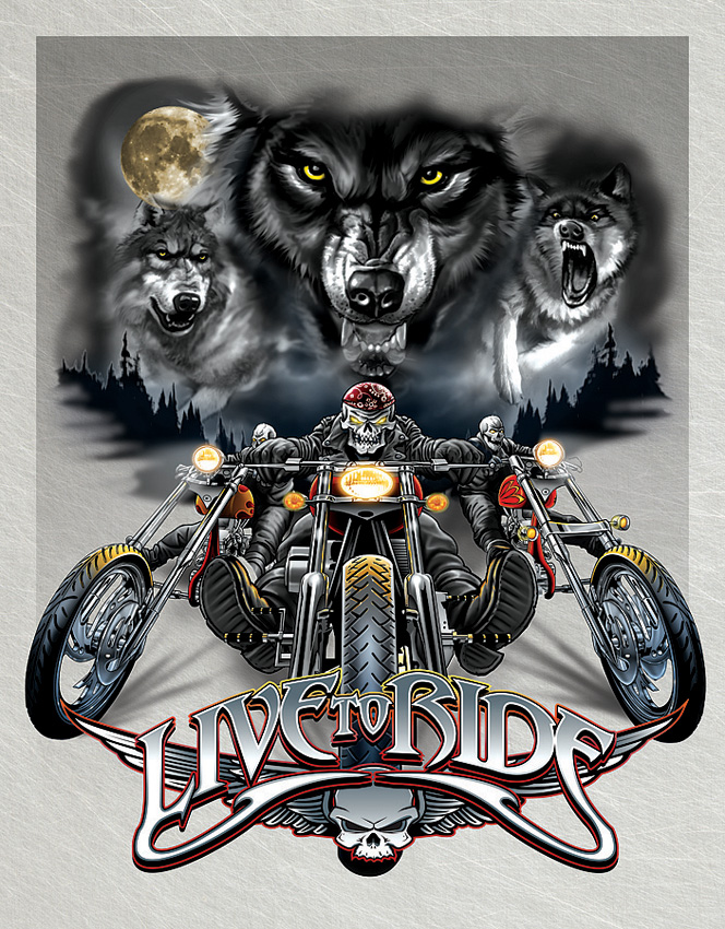 TSN1442 Tin Sign - Live To Ride Wolves