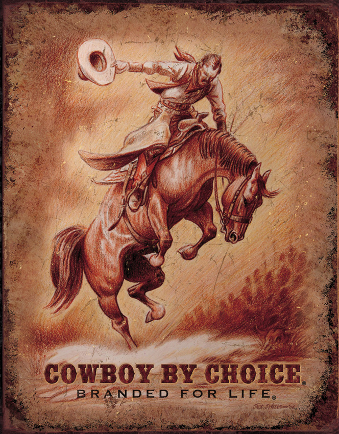 TSN1832 Tin Sign - Cowboy by Choice Branded for Life
