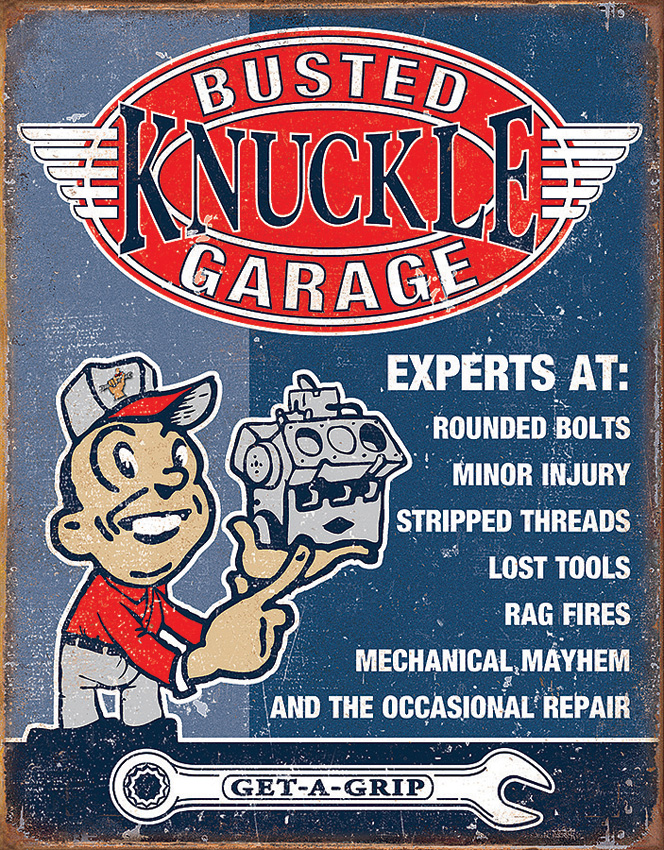 TSN2144 Tin Sign - Busted Knuckle Garage Experts at