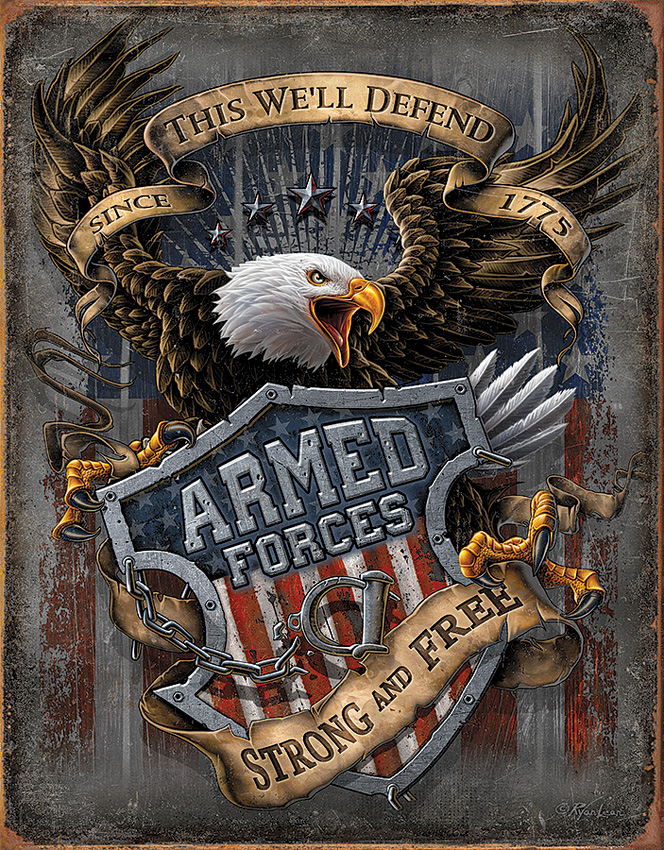 TSN2149 Tin Sign - Armed Forces Since 1775