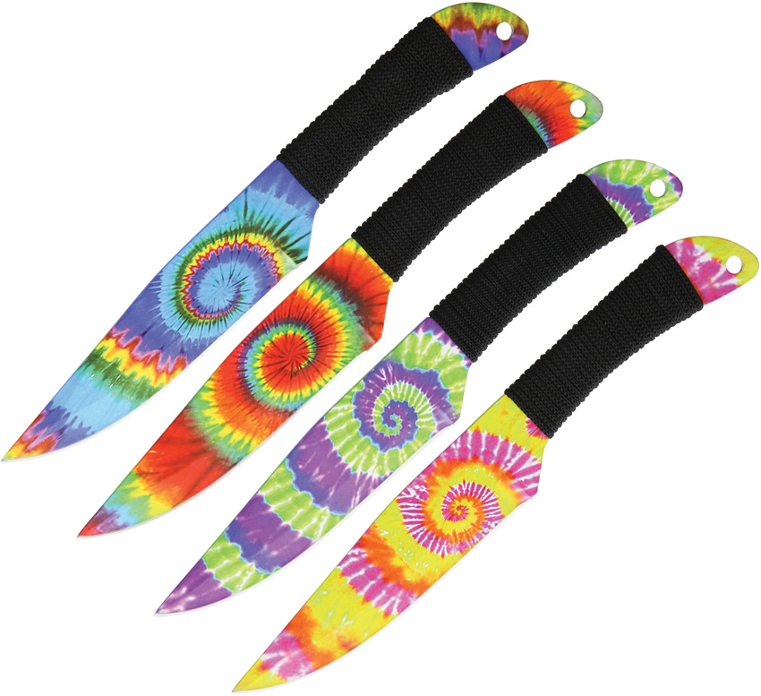 WB1023 Wild Boar Tie Dye Throwing Knives