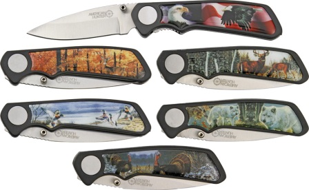 AH500 American Hunter Wildlife Six Piece Linerlock Pocket Knife Set