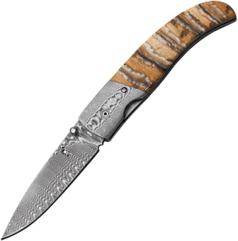 BR0242 Browning Damascus Linerlock Pocket Knife Mammoth Tooth