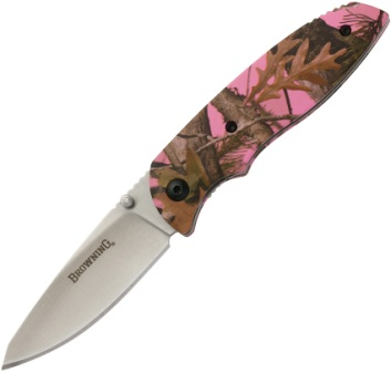 BR0250 Browning EDC-Every Day Camo Linerlock Pocket Knife Pink