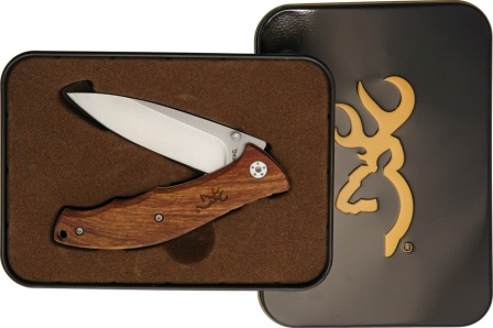 BR0309 Browning Wood Linerlock Pocket Knife with Tin